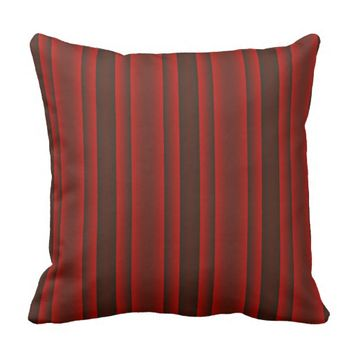 Red and Black Stripes Throw Pillow