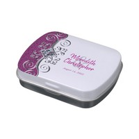 Pink Glitter Silver Jewel Wedding Candy Favor Tin