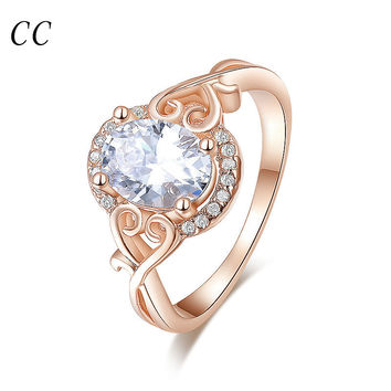 18K Rose gold plated lovely heart  with AAA cubic zircon oval shape rings for women wedding party fashion jewelry gifts CCR157