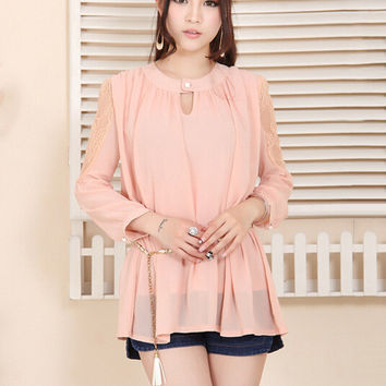 Long Sleeved Belted Chiffon Ruffled Blouse