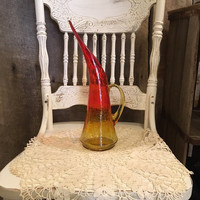 Vintage Yellow and Red Pitcher, Yellow and Red Vase, Crackle Glass, Mid Century Modern, Modern, Retro, Drinkware, Serving, Beverage