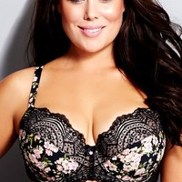 Women's Plus Size Geisha Contour Bra | City Chic USA 96116BLACKPRINT