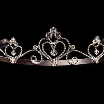 Silver Twist Heart Tiara with Rhinestone Accents  T-406