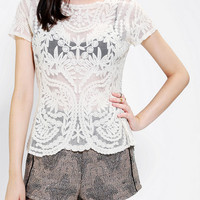 Pins And Needles Embroidered Lace Tee - Urban Outfitters