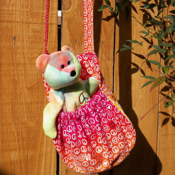 Peace and Love with PlushTeddy Stuffed Animal Carrier Choose your Color