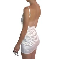 Satin Backless Mini Dress