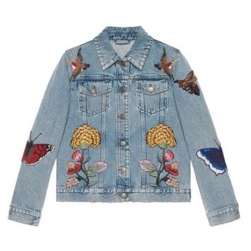 PEAPUF3 Gucci' Women Fashion Flower Embroidery Letter Pattern Long Sleeve Denim Cardigan Coat