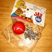 RARE 1970s Unopened Package of 8 METAL Jacks and Rubber Ball