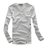 Men Long Sleeve V Neck Stretchy Pullover Tee Fall Shirt Gray M