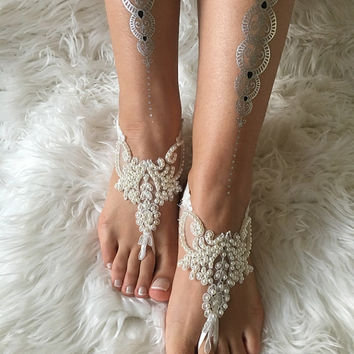 Ivory pearl lace barefoot sandals, FREE SHIP, beach wedding barefoot sandals, belly dance, lace shoes, bridesmaid gift, beach shoes