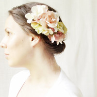 Rustic Pink Rose Bridal Headpiece, Floral Hair Clip, Woodland Wedding Hair Accessory, Roses, Country, Natural, Pink, Ivory