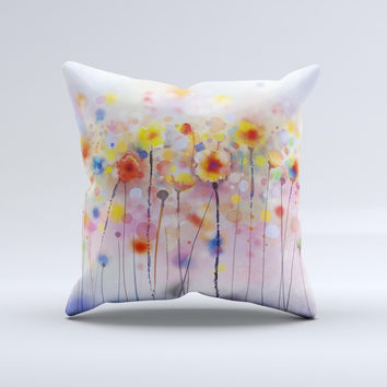 The Drizzle Watercolor Flowers V1 ink-Fuzed Decorative Throw Pillow