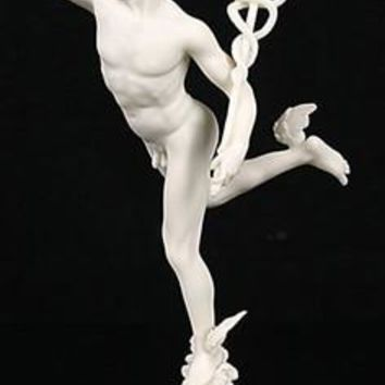 Flying Mercury Hermes by Giovanni da Bologna Replica, White 14.5H