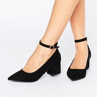 Oasis Pointed Block Heel With Ankle Strap at asos.com