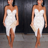 CUTE STRAPLESS LACE DRESS