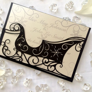 christmas cut sleigh winter wedding invitation pocket DIY party elegant holiday party card