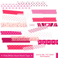Digital Washi Tape Set Clip Art Valentine Washi Tape Valentine Digital Clipart Semi Transparent Washi Strips Scrapbook Embellishment Art