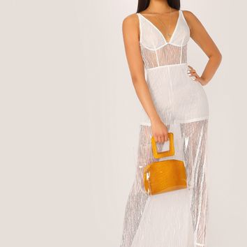 Sheer Lace Overlay Bustier Dress With Shorts