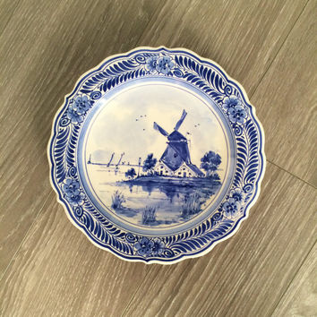 Vintage Delft Plate , Dutch Plate , Blue White Plate , Delftse Pauw Plate , Signed by Artist