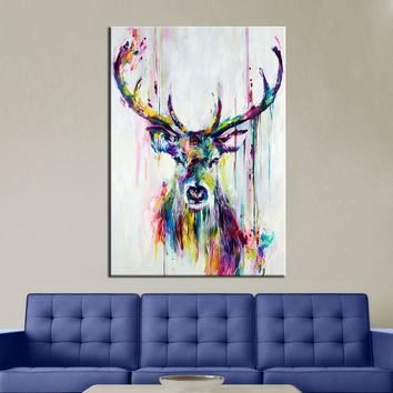 Wall Art Colorful Deer Wall Pictures for Living Room Oil Painting Posters and Prints Canvas Art Home Decor No Framed