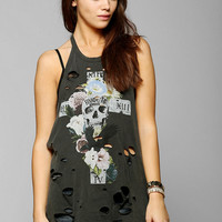 Truly Madly Deeply Skull & Flowers Shredded Tank Top - Urban Outfitters