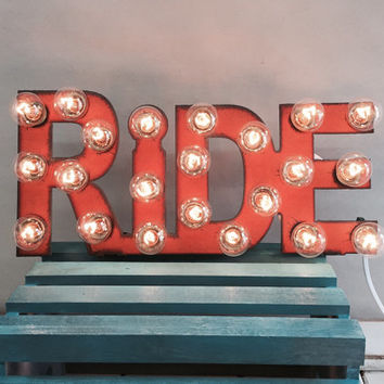 Mini RIDE Marquee Sign made of Rusted Recycled Metal Vintage Inspired