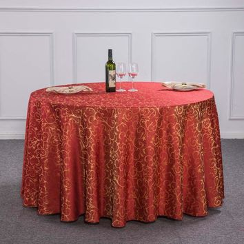 New Luxury Crocheted Gold Leaf Red Round Table Cloth For Hotel Restaurant Decor Rectangle Washable Tablecloth For Wedding Party