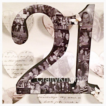 21st Birthday Gift, Freestanding Number, Photo Present, 21st Keepsake, Special Birthday Gift, Personalised Birthday Photo Frame