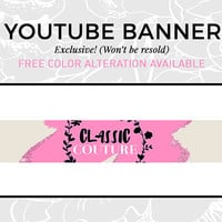 Pink Logo | Pink Youtube Banner | Social Media Design | Youtube Graphics | Blog Graphics | Beauty Vlog Banner | Beauty Vlog Cover | CLASSIC