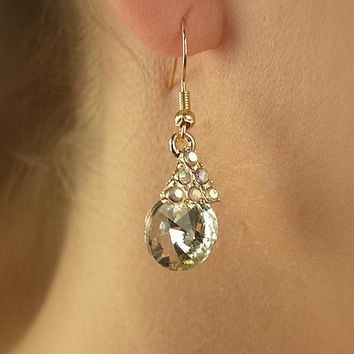 Crystal Accented Triangular Earring