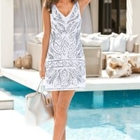 Boston Proper Linen embellished shift dress