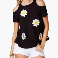 Black Floral Crochet Patchwork with Cut-Out Shoulder Top