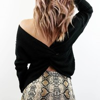 Best Thing Black Twisted Back Sweater