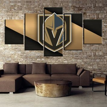 Vegas Golden Knights Hockey Team Black Gold Wall Art Canvas 5 Panel Print
