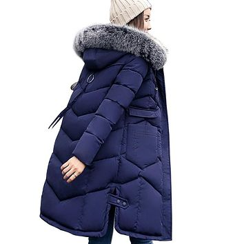 Winter women hooded coat fur collar thicken warm long jacket female plus size 3XL