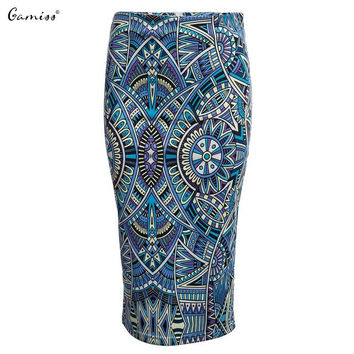 Gamiss Women Pencil Skirt Floral Print Skirt Slim Hip Pencil Skirts Vintage High Waist Pattern Bodycon Ladies Midi Skirts
