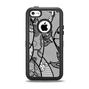 The Black and White Lace Design Apple iPhone 5c Otterbox Defender Case Skin Set