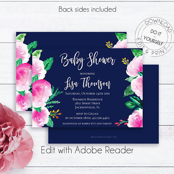 Navy Blue Baby Shower Invite, Rustic, Baby Girl, Baby Boy, Editable, Watercolor, Floral, Printable,  Brunch for Baby, Baby Shower Invite,