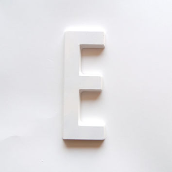"Large Wall Monogram 8"" Alphabet Typography Plaster Sign Letter, E"