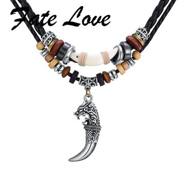 Fate Love  Tibetan Beads Male Tribe Ethnic Leather Necklace For Men Wolf Fang Pendant Handmade Braided RopeTooth Jewelry FL022