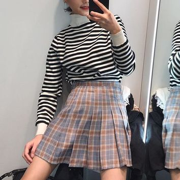 Summer Plaid Harajuku dress Casual Japanese Cute College Pleated dress Korea A-Line High-rise Bf Knee-Length dress big size 2XL
