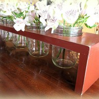 Shabby Chic Barn Red 5 Ball Jar Table Top 5 by cellardesigns