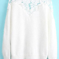 Embroidery Splicing Long Sleeve Sweater