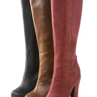 Promise Cuesta Brown Elastic Platform Knee High Boots and Shop Boots at MakeMeChic.com