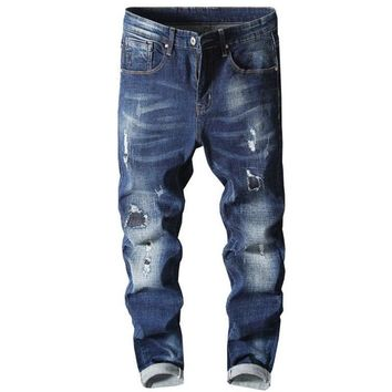 Brand New Stretch Jeans Men Slim Skinny Denim Blue Jeans Ripped Trousers High Quality Hot Sale Mens Biker Jeans Moto