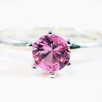Light Pink Sapphire Gemstone Sterling Silver Ring