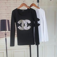 """Chanel"" Women Casual Fashion Logo Letter Sequins Embroidery Long Sleeve T-shirt Tight Tops I"
