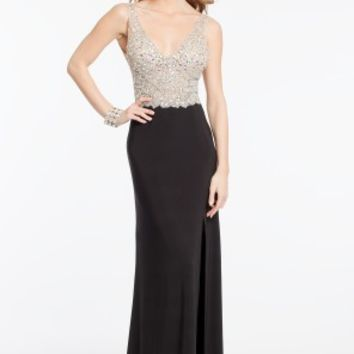 Illusion Cluster Bead Bodice Dress