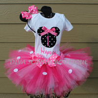 Pink Personalized Minnie Mouse Tutu Set with by DivaSophiaBoutique