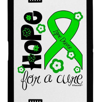 Hope for a Cure - Lime Green Ribbon Lyme Disease - Flowers Black Jazz Kindle Fire HD Cover by TooLoud